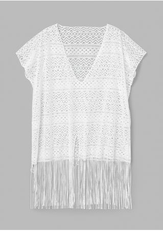 Solid Fringe Lace Cover Up