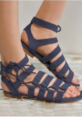 Solid Lace Up Flat Sandals