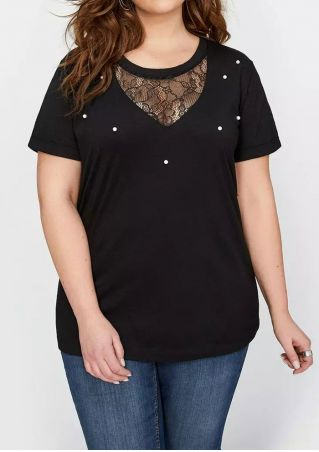 Plus Size Solid Lace Splicing Blouse