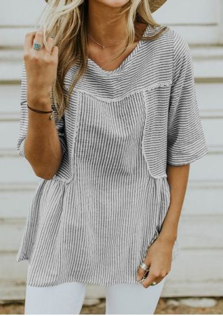 Striped Lace Splicing O-Neck Blouse without Necklace