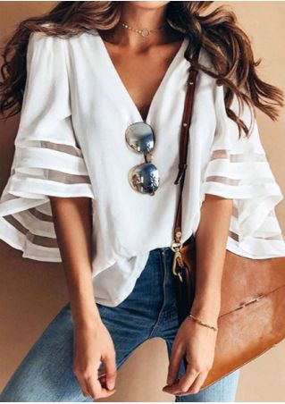 Solid Mesh Splicing V-Neck Blouse without Necklace