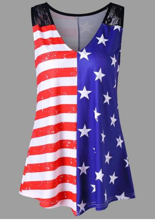 American Flag Lace Splicing Tank