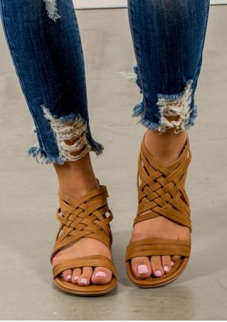 Summer Cross-Tied Zipper Flat Sandals