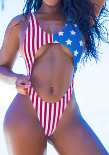 Image of American Flag Printed Swimsuit