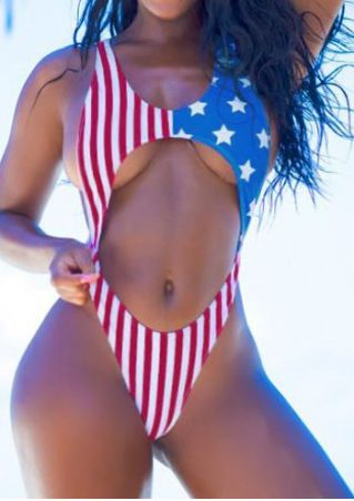 American Flag Printed Swimsuit