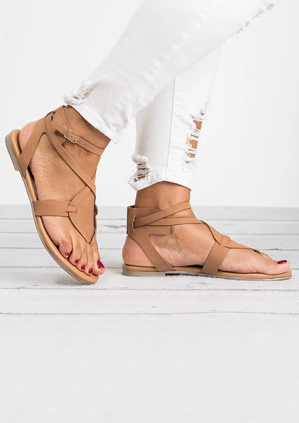 Solid Ankle Strap Flat Sandals