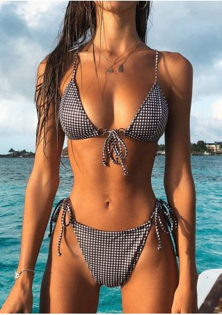Plaid Tie Triangle Bikini Set without Necklace
