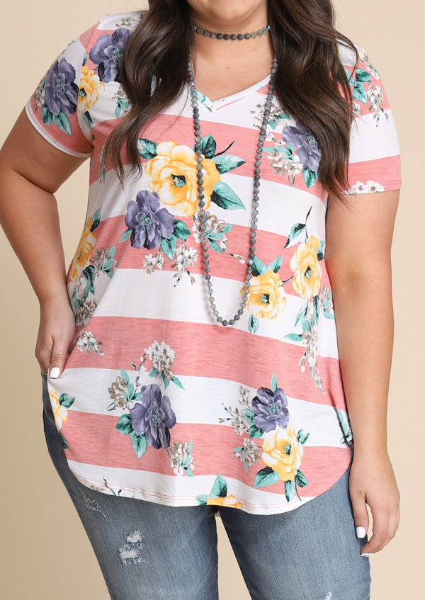 Plus Size Floral Striped V-Neck T-Shirt without Necklace