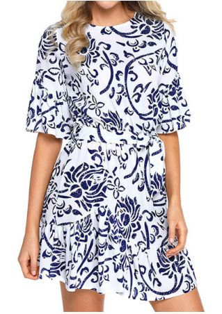 Printed O-Neck Mini Dress without Necklace