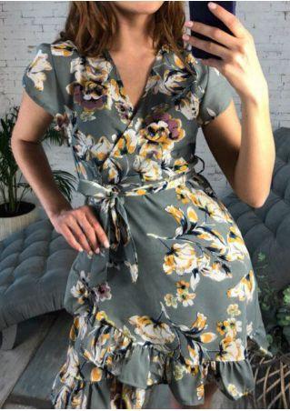 Floral Wrap Ruffled Mini Dress