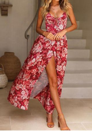 Floral Tie Slit Maxi Dress without Necklace