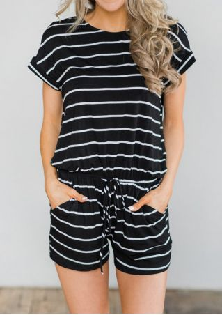 Striped Drawstring Pocket Romper