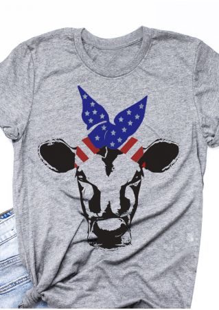 American Flag Cow O-Neck T-Shirt