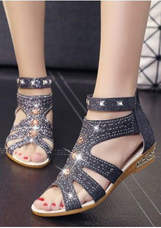 Imitated Crystal Zipper Flat Sandals