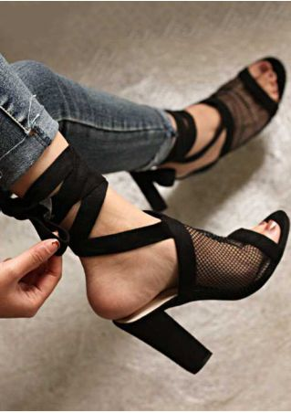 Solid Mesh Ankle Wrap Heeled Sandals