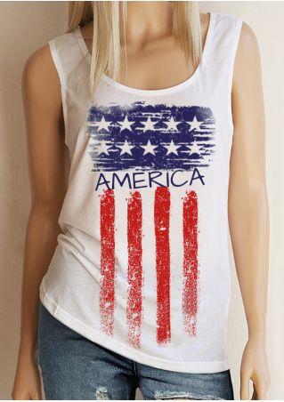America American Flag Printed Tank