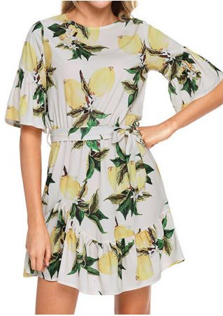 Lemon Ruffled O-Neck Mini Dress