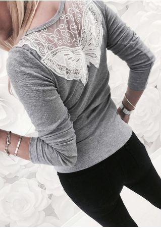 Lace Splicing Button O-Neck T-Shirt