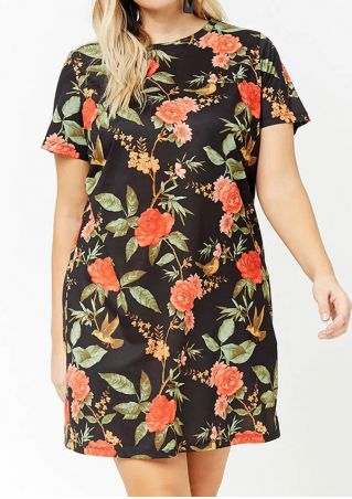 Plus Size Floral O-Neck Mini Dress