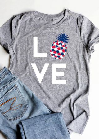 Love Pineapple O-Neck T-Shirt