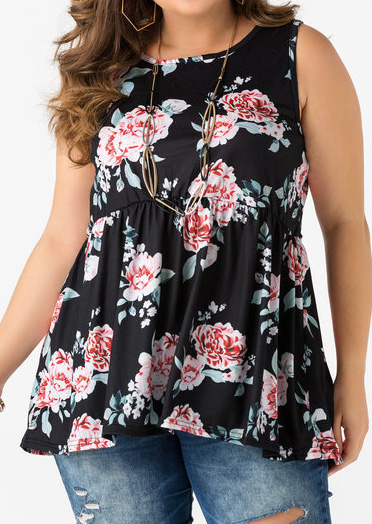 Plus Size Floral Ruffled Tank without Necklace