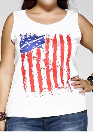 Plus Size American Flag Printed Tank