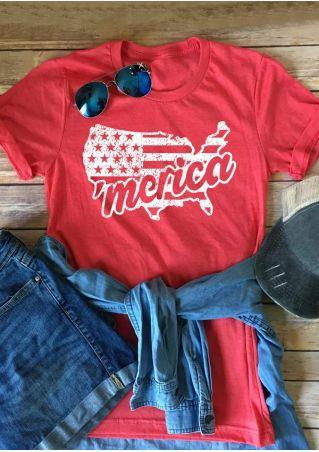 'Merica American Flag O-Neck T-Shirt