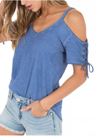 Solid Lace Up Cold Shoulder Blouse