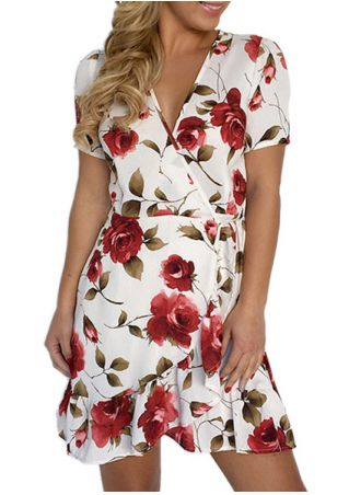 Floral Ruffled Wrap V-Neck Mini Dress