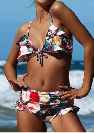 Floral Ruffled Sexy Bikini Set