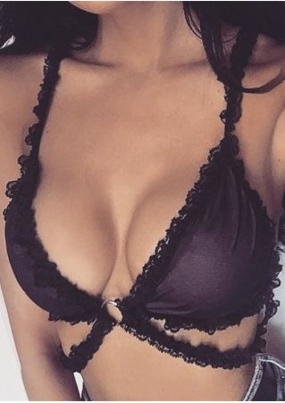 Solid Lace Splicing Sexy Bra
