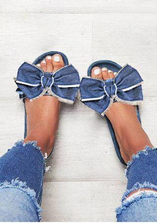 Solid Bowknot Slide Sandals