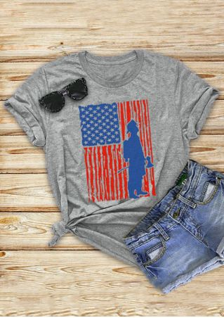 American Flag O-Neck Short Sleeve T-Shirt