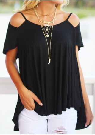 Solid Cold Shoulder Asymmetric Blouse without Necklace
