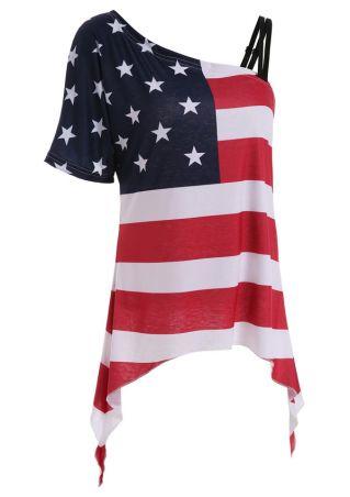 American Flag One Shoulder Blouse