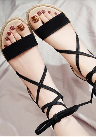 Solid Ankle Wrap Flat Sandals