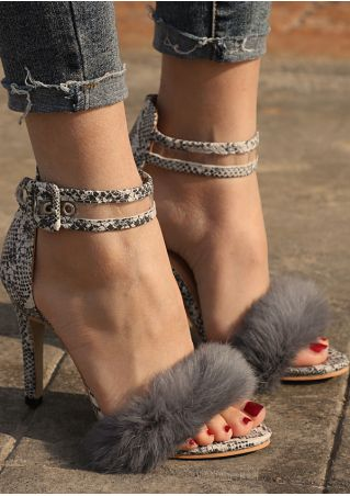 Faux Fur Fluffy Ankle Strap Heeled Sandals