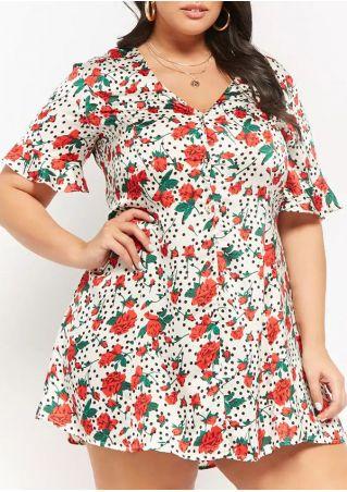Plus Size Floral V-Neck Mini Dress without Necklace