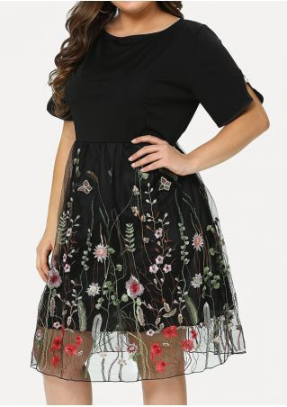 Plus Size Embroidery Splicing O-Neck Casual Dress