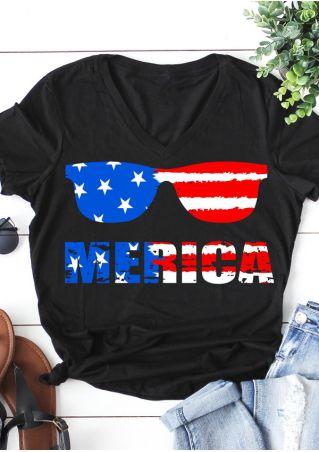 Merica American Flag Glasses T-Shirt
