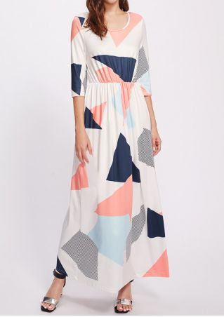 Geometric Printed O-Neck Maxi Dress