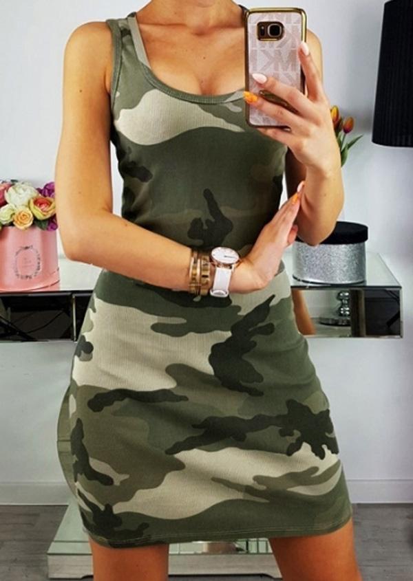Camouflage Printed Sleeveless Bodycon Dress