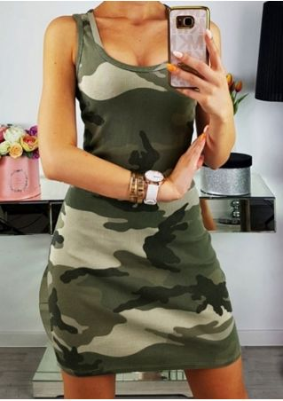Camouflage Printed Sleeveless Bodycon Dress