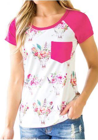 Floral Pocket O-Neck Baseball T-Shirt