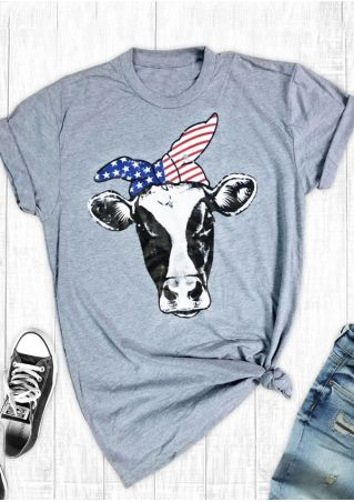 Cattle American Flag O-Neck T-Shirt