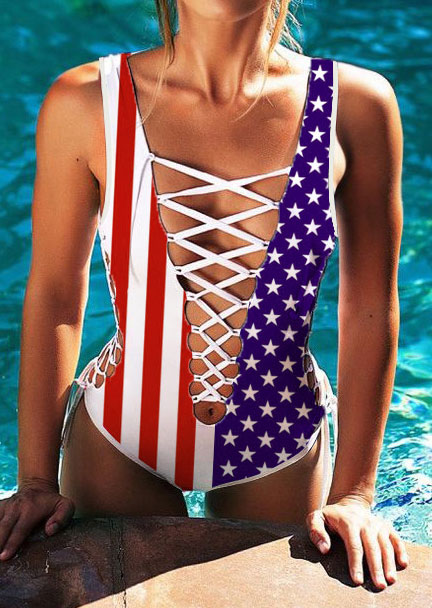 Image of American Flag Lace Up Swimsuit
