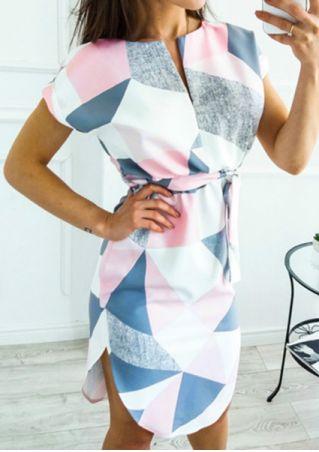 Geometric Printed Short Sleeve Casual Dress
