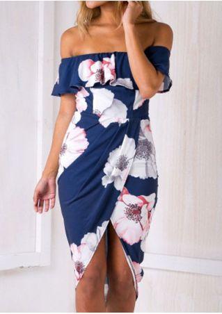 Floral Layered Slit Off Shoulder Casual Dress