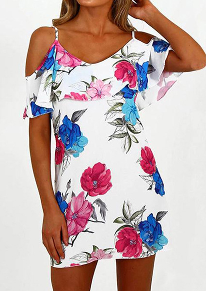 Floral Cold Shoulder Mini Dress 45988