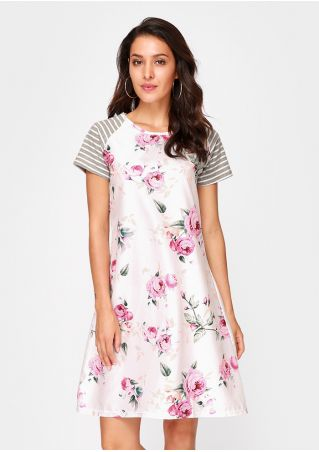 Floral Striped Casual Dress